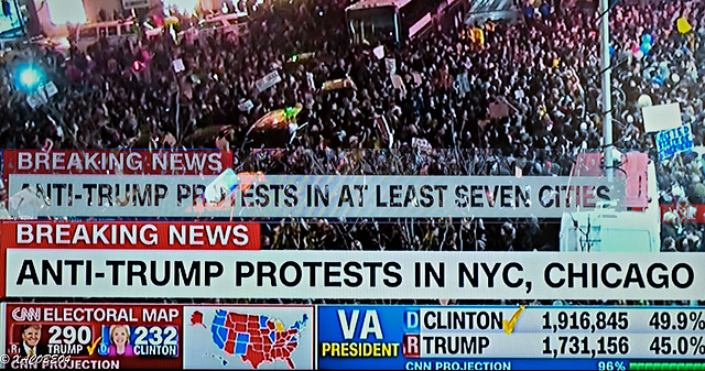 """"""" Thousands of New Yorkers have taken to the streets to join the nationwide anti-Trump         protests.  Chanting """"Not my President!!!!!"""