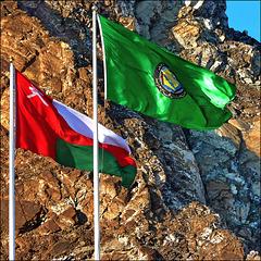 La bandiera dell'Oman e quella  degli stati arabi uniti - (625)
