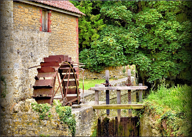 Old water wheel.