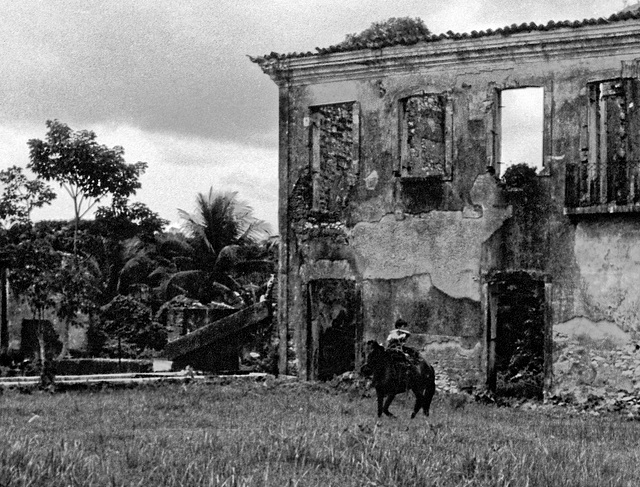 Young boy, old horse and ruins.