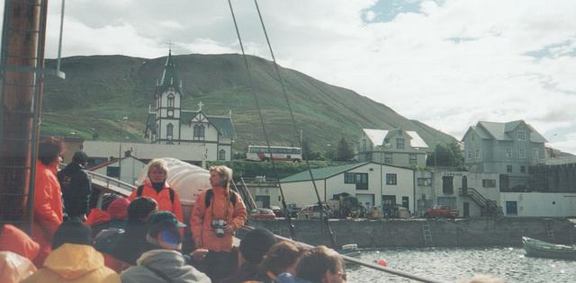 SBA-Norðurleið Mercedes-Benz coach seen from a boat in the harbour at Husavík (Iceland) - 26 July 2002 (494-11)
