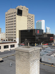 Several useful examples of Windsor Ontario architecture including a historic chimney.