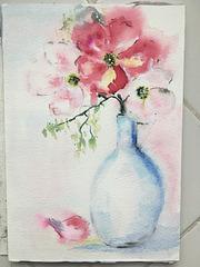 Aquarelle : Le vase blanc