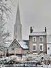 York winter scene, with spire of All Saints Church