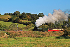 "GWR castle class no 5029 ""NUNNY CASTLE"" at Esk Valley on the  North York Moors Railway"