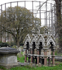 Graves and a gasometer