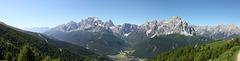 Panorama Süd vom karnischen Höhenweg unterhalb der Sillianer Hütte