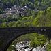The village of Montesinaro from the old stone bridge of Rosazza on the Cervo torrent (Biella)