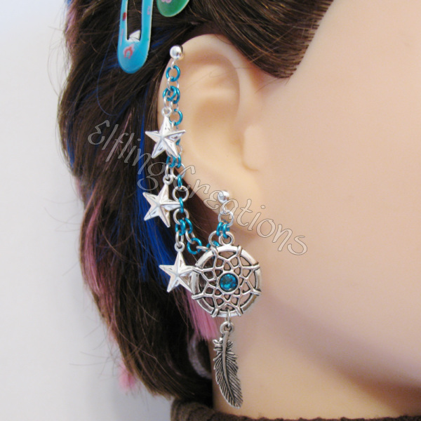 Turquiose Feather Star Dreamcatcher Earring