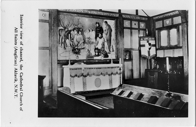 6138. Interior view of chancel, the Cathedral Church of All Saints (Anglican) Aklavik, N.W.T.