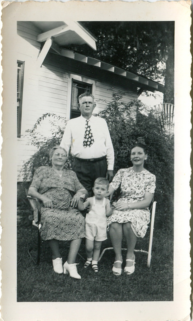 House-proud mom, tot and grandparents