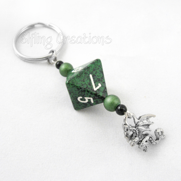 Black, Silver, and Green Dragon Dice Keychain