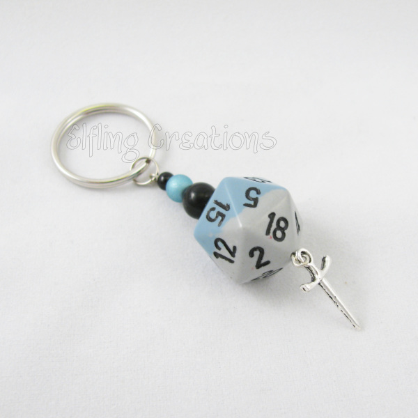 Dagger Knife Dungeons and Dragons Dice Keychain