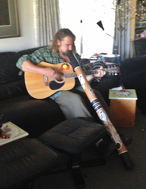 Matt plays solo guitar and didge