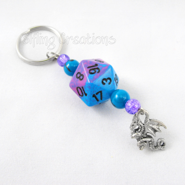 Purple and Blue Gaming Dice Dragon Keychain