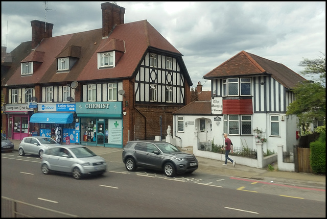 mock-Tudor shops and surgery