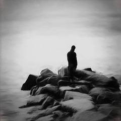 man on the rocks