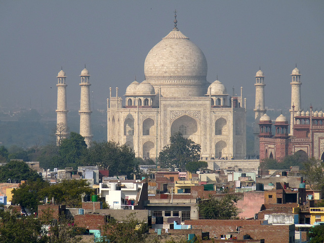 Agra- Taj Mahal from the Gateway Hotel
