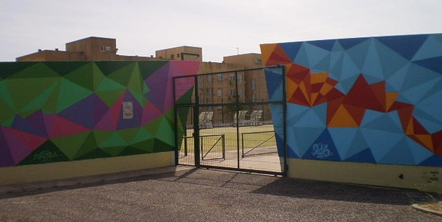 Intervention by the entrance of multi-sports pavilion.
