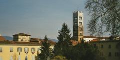 IT - Lucca - Duomo, von der Stadtmauer gesehen