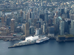 Aerial View of Downtown Vancouver Including Canada Place