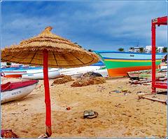 Hammamet : un ombrellone biologico pensato per riparare dalla calura africana...ma oggi è servito a ripararsi da una 'bomba d'acqua' !