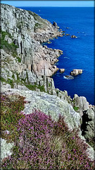 Caribbean blue, heather and granite