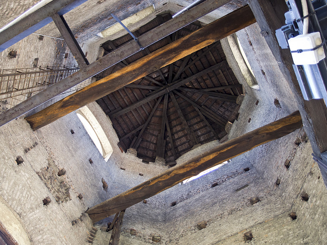 Turin from the top of the bell tower of the St. John Baptist Cathedral - Look up, towards the dome of the bell tower
