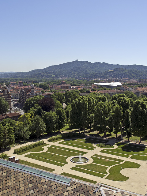 Turin from the top of the bell tower of the St. John Baptist Cathedral - View from the Royal Gardens to the Church of Superga