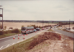 Percivals Coaches 81 (LWL745W) near Barton Mills - 27 Apr 1985