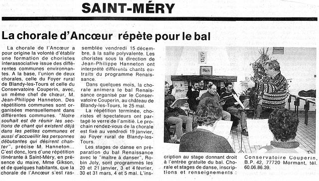 Répétition à Saint-Méry le 15/12/1995