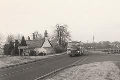 Percivals Coaches 104 (471 VWL) passing Barton Mills - 19 Mar 1985 11-14A