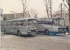 Percivals Coaches 279 JJO and Premier Travel Services  FAV 566Y in Drummer Street, Cambridge - 9 Feb 1985
