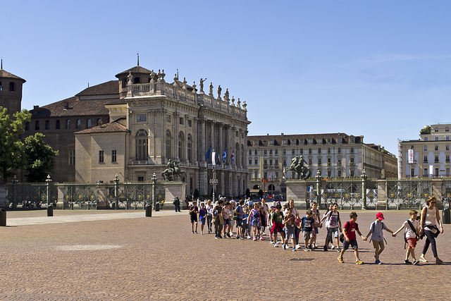 Turin, the school group in row in Castle Square