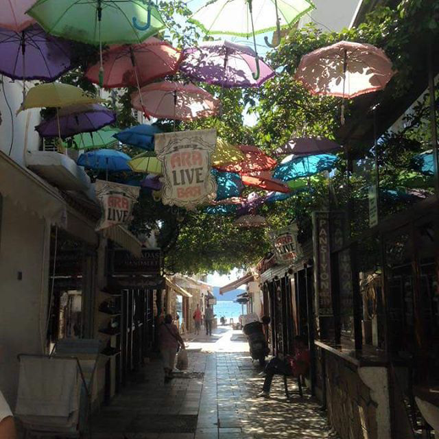 A gorgeous little street with hundreds of umbrellas