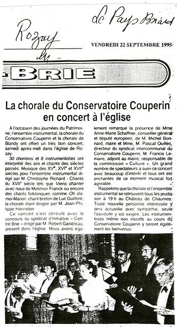 Concert à Rozay-en-Brie 16 septembre 1995