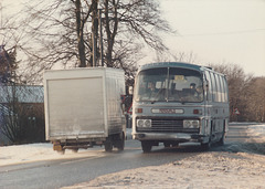 Percivals Coaches 279 JJO passing Barton Mills - 10 Feb 1985