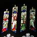 aldeburgh church, suffolk c19 angel musicians in n.w. window, attrib. to ward and hughes ; lute, portative organ and tabor (23)
