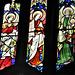 aldeburgh church, suffolk (70) c19 angel musicians in n.w. window, attrib. to ward and hughes ; lute, portative organ and tabor