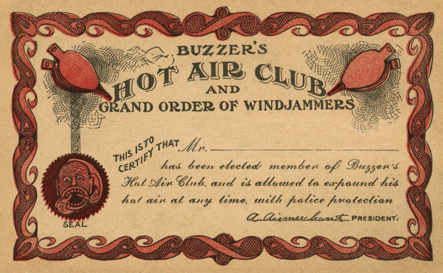 Buzzer's Hot Air Club and Grand Order of Windjammers Membership Card