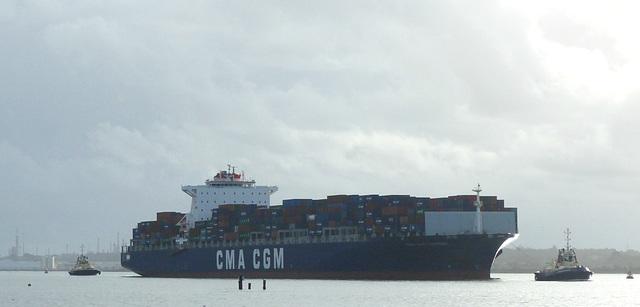CMA CGM Carmen arriving at Southampton (1) - 10 January 2016
