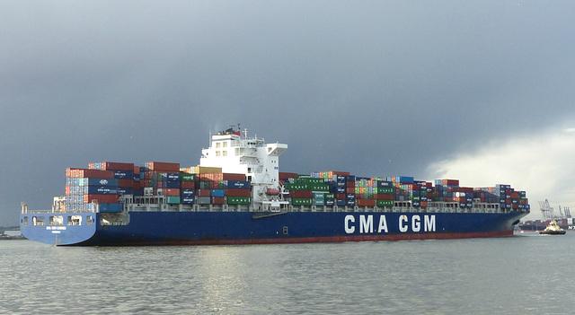 CMA CGM Carmen arriving at Southampton (2) - 10 January 2016