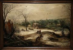 Paysage d'hiver - Huile sur bois de Brueghel - Musée d'Orléans