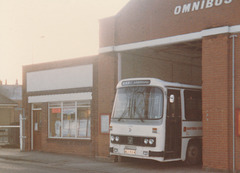 Eastern Counties LL800 (OEX 800W) at Newmarket garage - Dec 1982