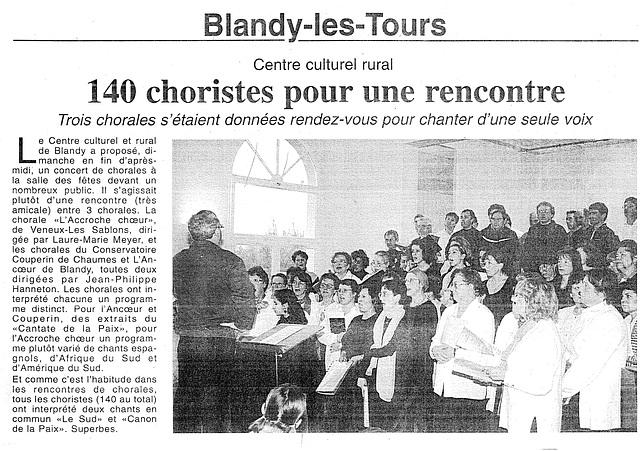 Rencontre chorales à Blandy le 30/01/2000