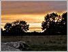 Le soleil se couche sur la campagne et les mégalithes de Lampouy (35) .Chut............. C'est l'heure des Korrigans..................Avec notes