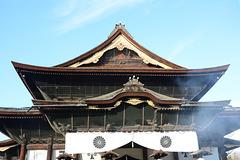 Japan, The Top of the Main Building of Zenko-ji Temple