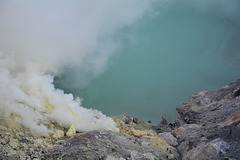 Indonesia, Java, Sulfur Mining Site in the Crater of Ijen Volcano