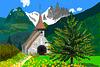 Paesaggio di montagna con chiesetta