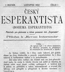 La unua numero de la plej malnova ĉeĥa gazeto BOHEMA ESPERANTISTO - 1902 - titolpaĝo